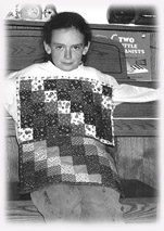 Rebekah, 9, showing her place mats.